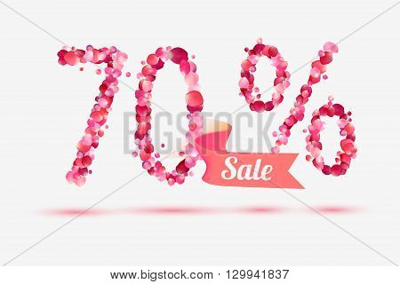 seventy (70) percents sale. Vector digits of pink rose petals