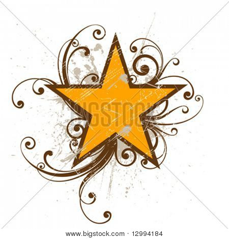 Star.  Grunge element on separate layers