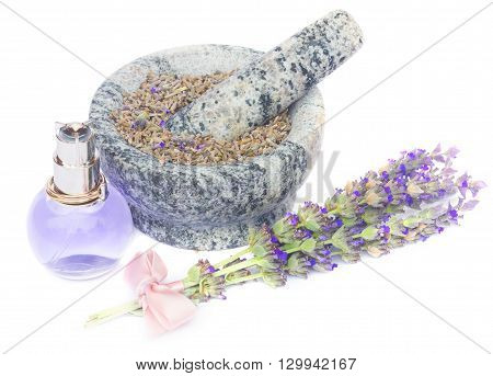 Lavender  posy with pink bow, fial with herbal water and mortar with dry flowers   isolated on white background