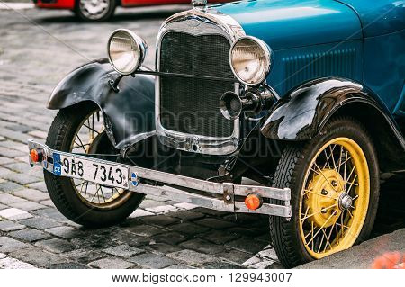 Prague, Czech Republic - October 10, 2014: Close up of old vintage blue car Ford A