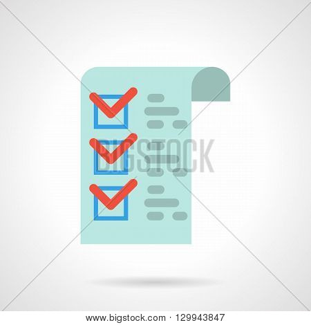 Blue paper with red checks and checkbox. Medical checklist, pharmacy prescription. Check clinics office. Correct fill paper forms. Flat color style vector icon.