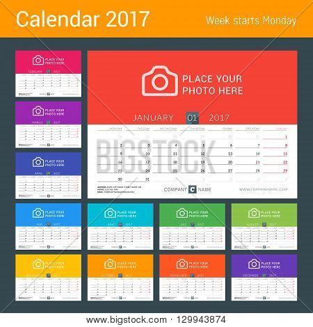 Desk Calendar For 2017 Year. Vector Print Template With Place For Photo. Week Starts Monday