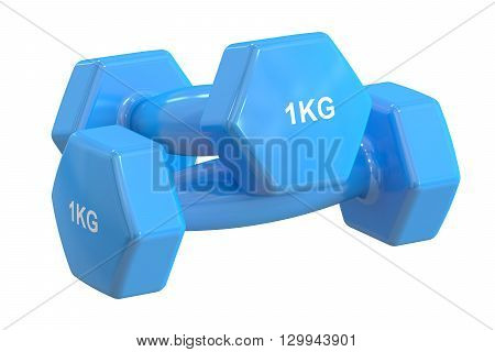 Blue Dumbbells 1 kg 3D rendering isolated on white background