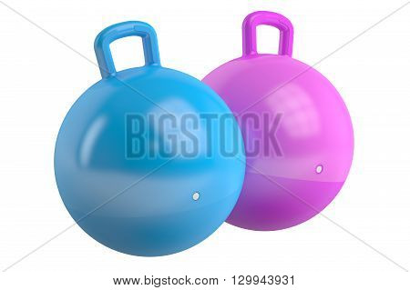 Kids jumping balls 3D rendering isolated on white background