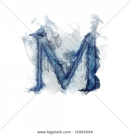 Letter M. Ink in water.