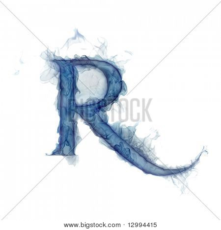 Letter R. Ink in water.