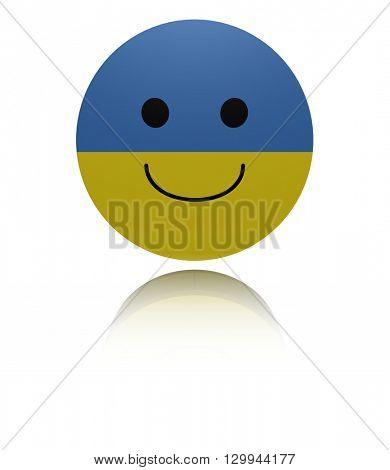 Ukraine happy icon with reflection 3d illustration