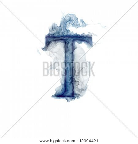 Letter T. Ink in water.