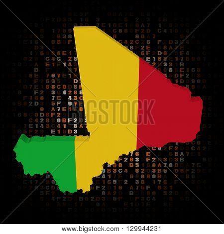 Mali map flag on hex code 3d illustration