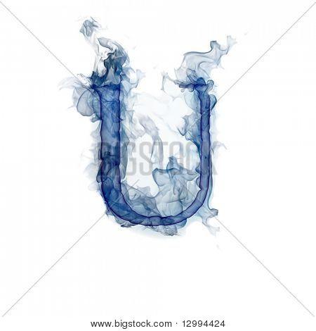 Letter U. Ink in water.