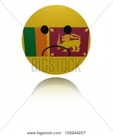 Sri Lanka sad icon with reflection 3d illustration