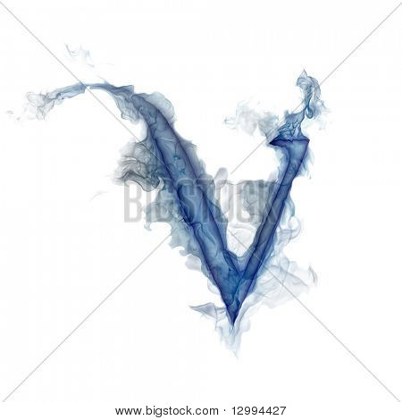 Letter V. Ink in water.