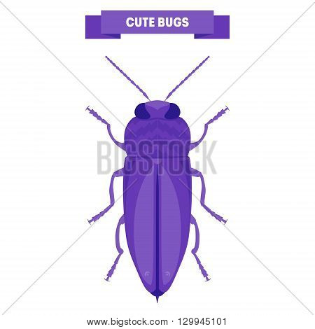 Cute bug isolated on white. Anthaxia candens panzer. Cute insect design. Stylish flat cartoon bug. For card print flyer poster label shop. Kid's beetle vector illustration