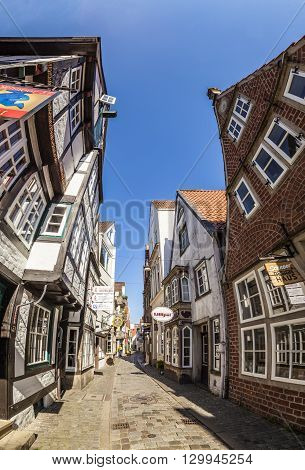 Colorful Houses In Historic Schnoorviertel In Bremen, Germany