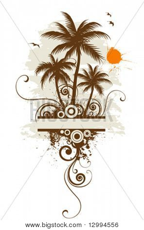 Stylized palm trees, text frame