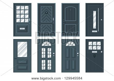 Set of detailed front doors for private house or building. Interior / exterior home entrance decoration elements. Isolated modern architecture element. Wooden doorway construction. Vector illustration