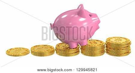 Piggy bank and coins financial success concept 3D rendering