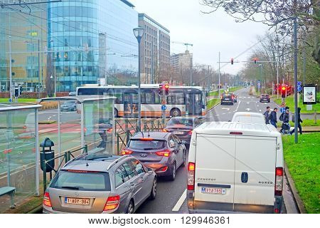 Brussels, Belgium - February, 9, 2016: street traffic in Brussels, Belgium