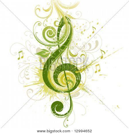 Clave de violín. Diseño floral.