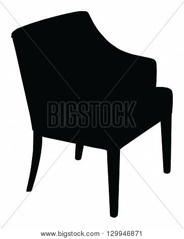 Silhouette of the modern chair, vector icon illustration of chair