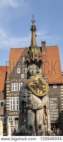 Famous Roland Statue At Market Place In Bremen