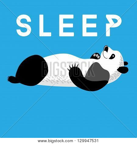 Fun card with a panda sleeping on a blue background