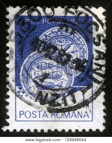 ZAGREB, CROATIA - JULY 18: A stamp printed in the Romania, shows Ceramic plate, from Radauti, circa 1982, on July 18, 2012, Zagreb, Croatia