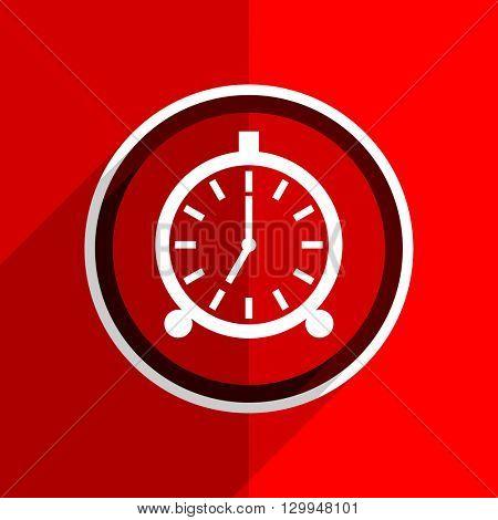 red flat design alarm web modern icon
