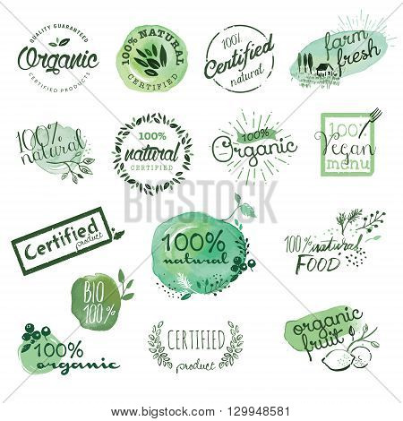 Organic food stickers and elements. Hand drawn watercolor vector illustration set for food and drink, restaurant, natural products.