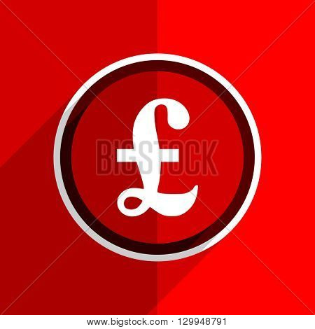 red flat design pound web modern icon