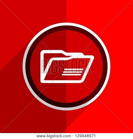 red flat design folder web modern icon