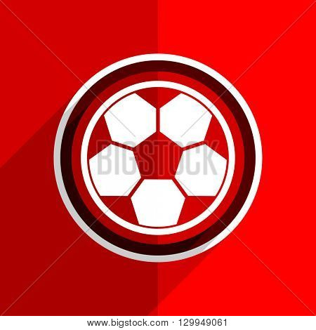 red flat design soccer web modern icon