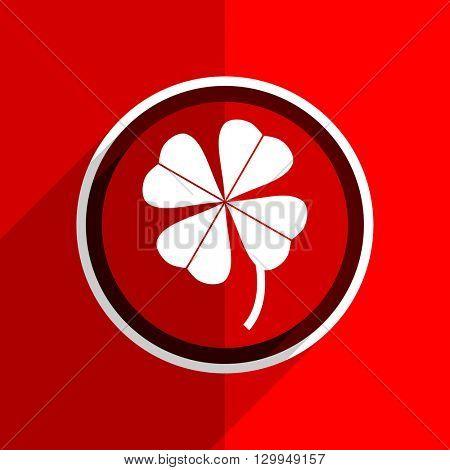 red flat design four-leaf clover web modern icon