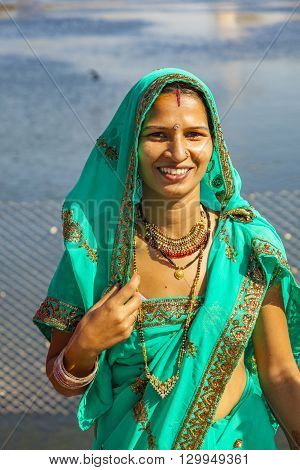 Portrait Of Indian Girl In Colorful Ethnic Attire At Sagar Lake In Jaipur