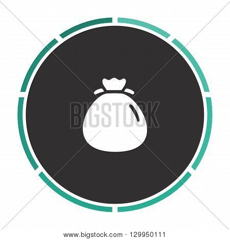 sack Simple flat white vector pictogram on black circle. Illustration icon
