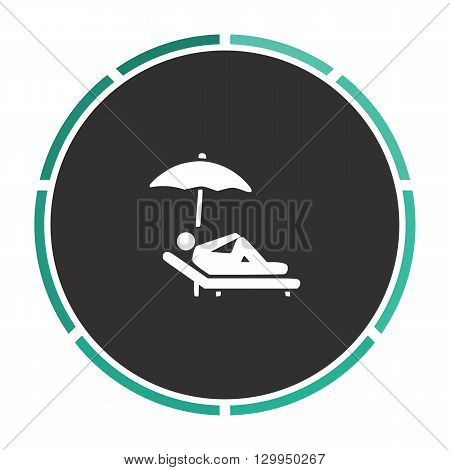 lounger Simple flat white vector pictogram on black circle. Illustration icon