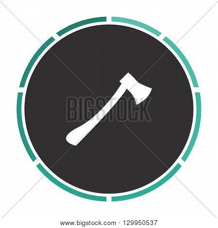 ax Simple flat white vector pictogram on black circle. Illustration icon