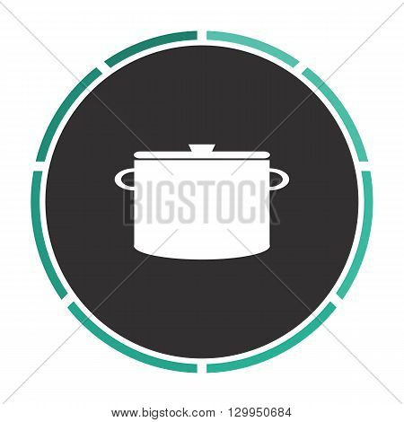 Saucepan Simple flat white vector pictogram on black circle. Illustration icon