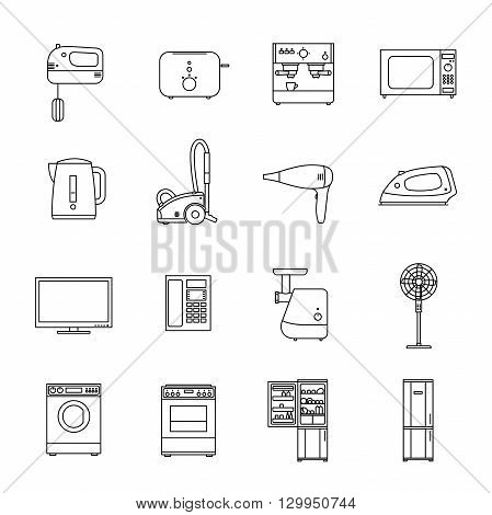 Home household appliances. Vector line icons set.