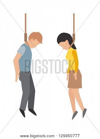 Gallows people vector illustration.