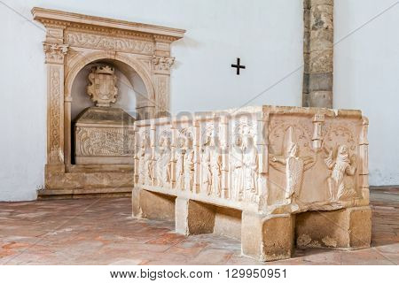 Santarem, Portugal. September 12, 2015: Tombs with bas-relief decorations in Santa Clara Church. 13th century Mendicant Gothic Architecture. Santarem is called the Capital of Gothic in Portugal.