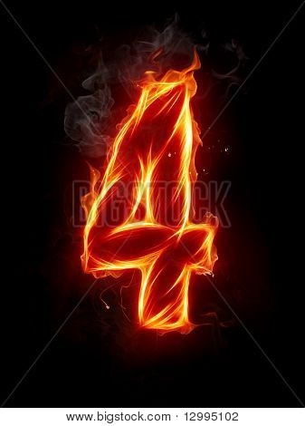 Fire digit A series of fiery letters and digits