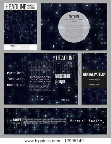 Set of business templates for presentation, brochure, flyer or booklet. Virtual reality, abstract technology background with blue symbols, vector illustration.
