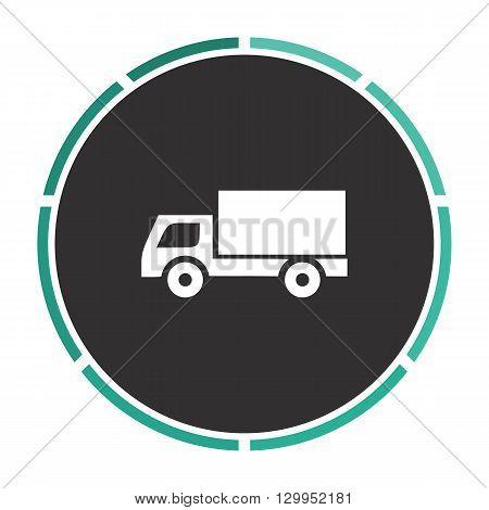 Cargo truck Simple flat white vector pictogram on black circle. Illustration icon