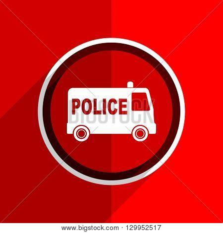 red flat design police web modern icon