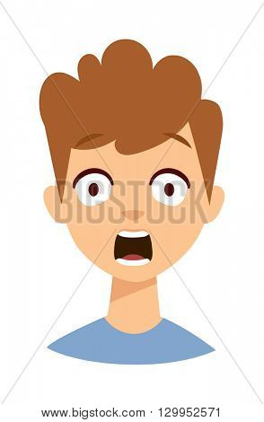 Surprised child vector illustration.