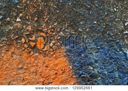 Dirty Grey Concrete Wall With Blue Colored Stones 15
