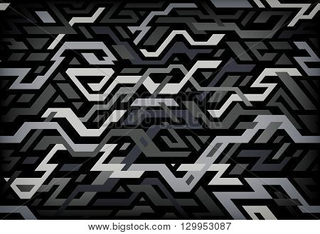Digitally Abstract seamless pattern in dark colors