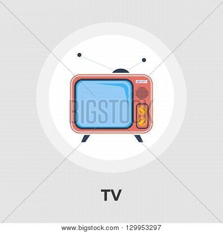 TV single icon vector. Flat icon isolated on the white background. Editable EPS file. Vector illustration.