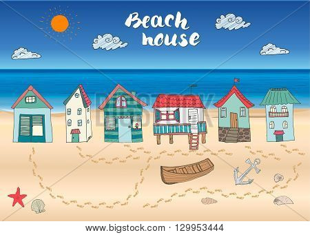 Beach Huts And Bungalows, Hand Drawn Outline Color Doodle Set With Light House Wooden Boat And Ancho